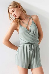 Silence And Noise Surplice Cross Front Romper Olive
