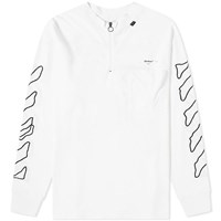 Off White Abstract Arrows Zip Mock Neck Tee White