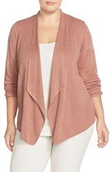 Plus Size Women's Eileen Fisher Silk Drape Front Cardigan Toffee Cream