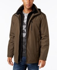 Calvin Klein Men's Big And Tall Hooded Fleece Lined Coat Military Green