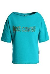 Just Cavalli Crystal Embellished French Cotton Blend Terry Top Turquoise