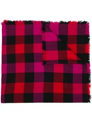 Woolrich Check Print Scarf Pink