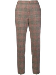 Alberto Biani Checked Cropped Trousers Brown