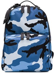 Valentino Camouflage Print Backpack Blue