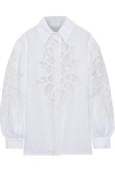 Costarellos Woman Organza Paneled Broderie Anglaise Cotton Blend Shirt White