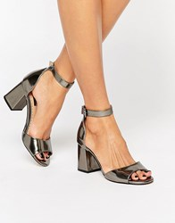 Miss Kg Geena Ankle Strap Gunmetal Mid Heeled Sandals Gunmetal Synthetic Silver