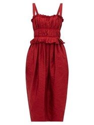 Brock Collection Palmira Ruched Crinkle Satin Midi Dress Burgundy