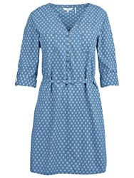 Fat Face Lara Geo Print Shirt Dress Chambray
