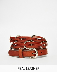 Esprit Leather Braided Ring Belt Tan