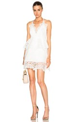Self Portrait Lace Trim Peplum Dress In White