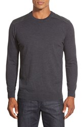 Men's Bugatchi Merino Wool Crewneck Sweater With Elbow Patches Charcoal