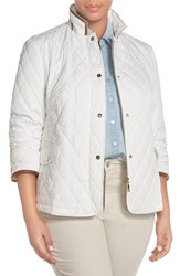 Plus Size Women's Basler Quilted Stand Collar Jacket Off White