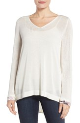 Nydj Women's Cutaway Back Layer Look Sweater Sugar