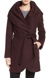 T Tahari Women's Wool Blend Belted Wrap Coat Merlot