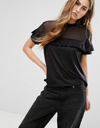 Daisy Street T Shirt With Mesh Panel And Ruffle Layer Black
