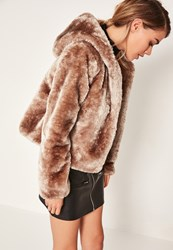 Missguided Brown Hooded Short Faux Fur Coat