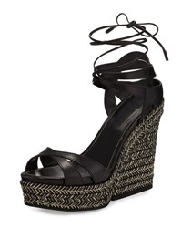 Sergio Rossi Bilbao Leather Espadrille Wedge Sandal Black