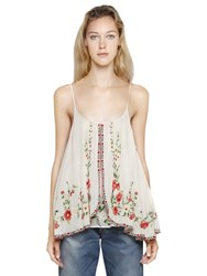 Mes Demoiselles Embroidered Cotton Voile Top