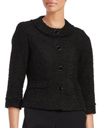 Karl Lagerfeld Button Front Boucle Blazer Black