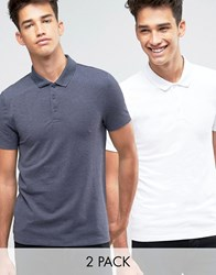 Asos 2 Pack Pique Muscle Polo Shirt In White Navy Marl Multi