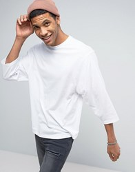 Asos Oversized T Shirt With Tapered Sleeve In White White