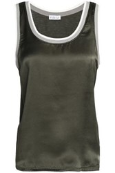 Claudie Pierlot Silk Blend Satin Top Dark Green