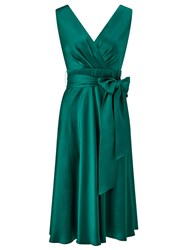 Ariella Belladonna Satin Fit And Flare Dress Green