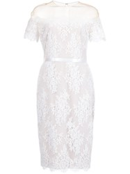 Marchesa Notte Off Shoulder Lace Dress Nude And Neutrals