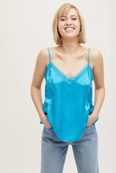 Anthropologie Laing Gathered Silk Lace Cami Dark Turquoise