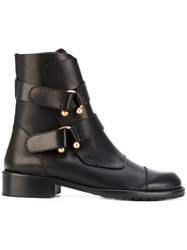 Red Valentino Horseshoe Ring Detail Boots Leather Rubber Black