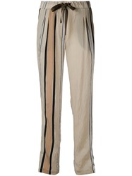 Roberto Collina Striped Details Straight Trousers Women Nylon Acetate M Nude Neutrals