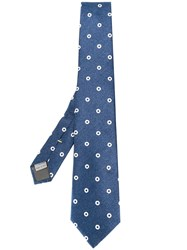 Canali Contrasting Circles Patterned Tie Blue