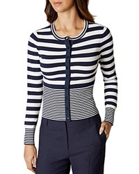 Karen Millen Graduated Stripe Cardigan Blue Multi
