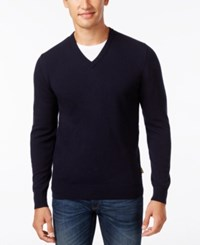 Barbour Men's Elbow Patch V Neck Sweater Dark Navy