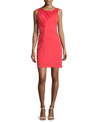 Halston Heritage Sleeveless Ruched Cocktail Dress Poppy