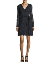 Diane Von Furstenberg Shaelyn Lace Long Sleeve Wrap Dress Black Navy Black Multi