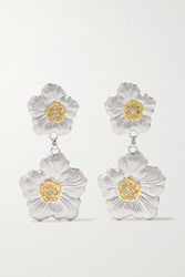 Buccellati Gardenia Sterling Silver And Gold Vermeil Diamond Earrings
