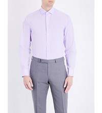 Smyth And Gibson Tailored Fit Micro Check Cotton Shirt Lilac