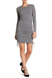 Pam And Gela Lace Up Bodycon Dress Gray