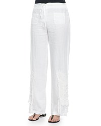 Biya Linen Wide Leg Crochet Pants White