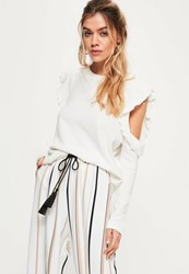 Missguided Cream Frill Detail Cold Shoulder Sweatshirt