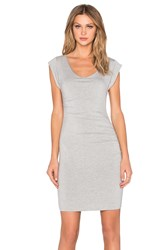 Velvet By Graham And Spencer Elmina Modal Knit Short Sleeve Scoop Neck Dress Gray