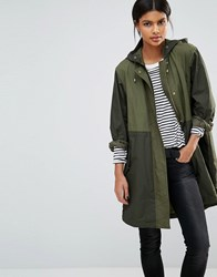 French Connection Milli Canvas Parka Coat Dark Olive Green