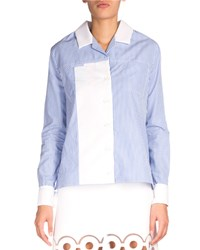 Carven Striped Contrast Trim Poplin Shirt Blue White Blanc And Bleu