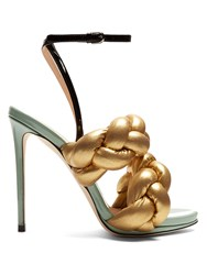 Marco De Vincenzo Plaited Leather Sandals Gold