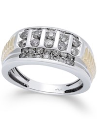 Macy's Men's Diamond Cluster Two Tone Ring 1 Ct. T.W. In 10K Gold And White Gold