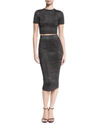 Cushnie Et Ochs Short Sleeve Metallic Knit Crop Top Black Black Metallic