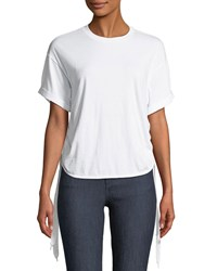 Kendall Kylie Ruched Side Tie Crewneck Tee White