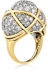 David Webb Geodesic Dome 18 Karat Gold And Platinum Diamond Ring
