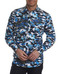Robert Graham Limited Edition Camouflage Sport Shirt Blue